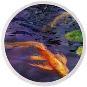 Animal - Fish - There's Something About Koi  Round Beach Towel by Mike Savad