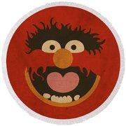 Animal Muppet Vintage Minimalistic Illustration On Worn Distressed Canvas Series No 008 Round Beach Towel