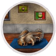Animal - Squirrel - And Stretch Two Three Four Round Beach Towel by Mike Savad