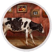 Animal - The Cow Round Beach Towel by Mike Savad