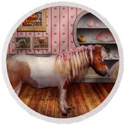 Animal - The Pony Round Beach Towel by Mike Savad