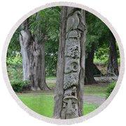 Animal Tree Totem Round Beach Towel