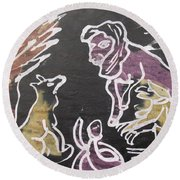 Animals Hold Their Monthly Meeting In The Bush. Round Beach Towel