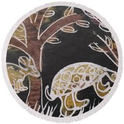 Animals On The Farm. Round Beach Towel