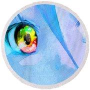 Anime Girl Eyes Blue Round Beach Towel