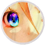 Anime Girl Eyes Gold Round Beach Towel