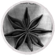 Anise Star Single Text Distressed Black And Wite Round Beach Towel