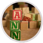 Ann - Alphabet Blocks Round Beach Towel