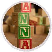 Anna - Alphabet Blocks Round Beach Towel