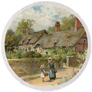 Anne Hathaway's Cottage At Shottery Round Beach Towel