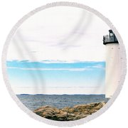 Annisquam Lighthouse Round Beach Towel