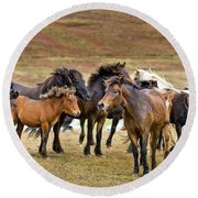 Annual Horse Round Up-laufskalarett Round Beach Towel