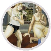 Annunciation With Yellow Dress Round Beach Towel