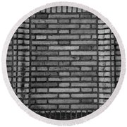 Another Brick In The Wall In Black And White Round Beach Towel