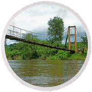 Another Bridge Over River Kwai In Kanchanaburi-thailand Round Beach Towel