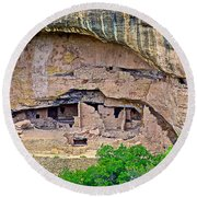 Another Dwelling On Chapin Mesa In Mesa Verde National Park-colorado  Round Beach Towel
