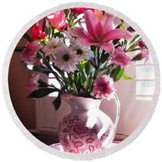 Another Grandma's Pitcher With Flowers Round Beach Towel