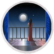 Another Night Alone Round Beach Towel
