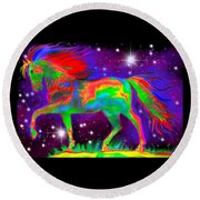 Another Rainbow Stallion Round Beach Towel