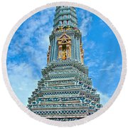 Another Stupa At Grand Palace Of Thailand In Bangkok Round Beach Towel