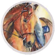 Horse In Watercolor Another Sunrise Round Beach Towel