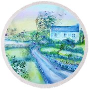 Another Windy Day On Cleare Island Ireland   Round Beach Towel