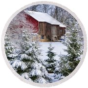 Another Wintry Barn Round Beach Towel