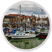 Anstruther Harbour Round Beach Towel