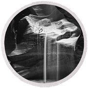 Antelope Canyon Sand Fall Round Beach Towel