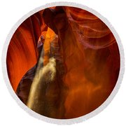 Antelope Canyon - Sand In The Light Round Beach Towel