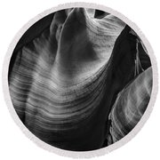 Antelope Canyon Waves Black And White Round Beach Towel