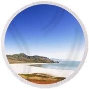 Antelope Island And Utah Vertical Round Beach Towel