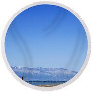 Antelope Island Causeway Utah  Round Beach Towel