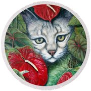 Anthurium Assassins Round Beach Towel