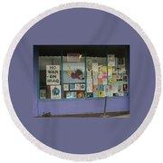 Anti-iraq War Posters 4th Avenue Book Store Window Tucson Arizona 2000 Round Beach Towel by David Lee Guss
