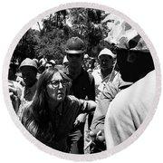 Anti-viet Nam War Protestor Confronting Smoking Marine Pro-war March Tucson Arizona 1970  Round Beach Towel