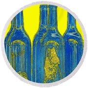 Antibes Blue Bottles Round Beach Towel by Ben and Raisa Gertsberg