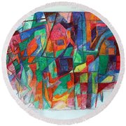 Birth-pangs Of Redemption 1 Round Beach Towel