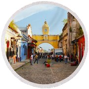 Antigua Guatemala Clock Round Beach Towel