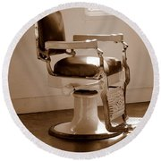 Antiquated Barber Chair In Sepia Round Beach Towel