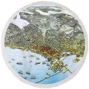 Antique 1891 Seattle Map Round Beach Towel by Dan Sproul