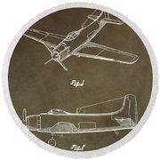 Antique Airplane Patent Round Beach Towel