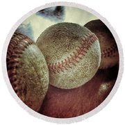 Antique Baseballs Still Life Round Beach Towel
