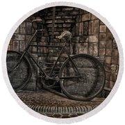 Antique Bicycle Round Beach Towel by Susan Candelario