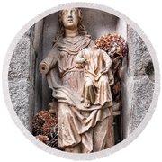 Antique Blessed Virgin Statue Round Beach Towel