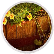 Antique Bucket With Yellow Flowers Round Beach Towel