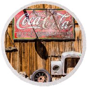 Antique Building At The Techatticup Gold Mine Round Beach Towel