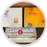 Antique Cigarette Boxes Round Beach Towel