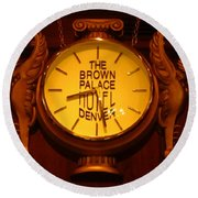 Antique Clock At The Bown Palace Hotel Round Beach Towel