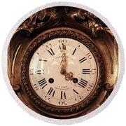 Antique Clock In Sepia Round Beach Towel